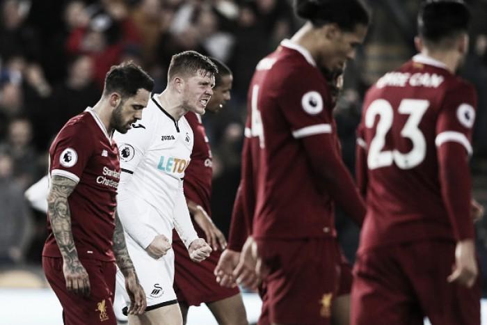 Swansea surpreende e quebra sequência de 18 jogos sem perder do Liverpool