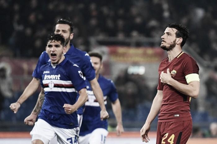 Roma é derrotada em casa pela Sampdoria e amarga sétimo jogo sem vitória