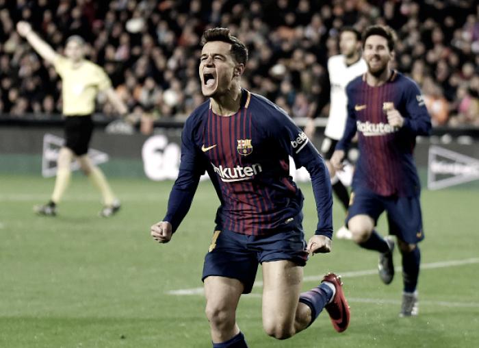 Coutinho marca pela primeira vez, Barcelona bate Valencia e vai à final da Copa do Rei