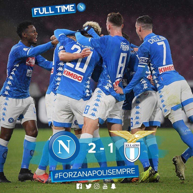 Serie A - Il Napoli bissa il successo dell'andata: Lazio battuta 2-1