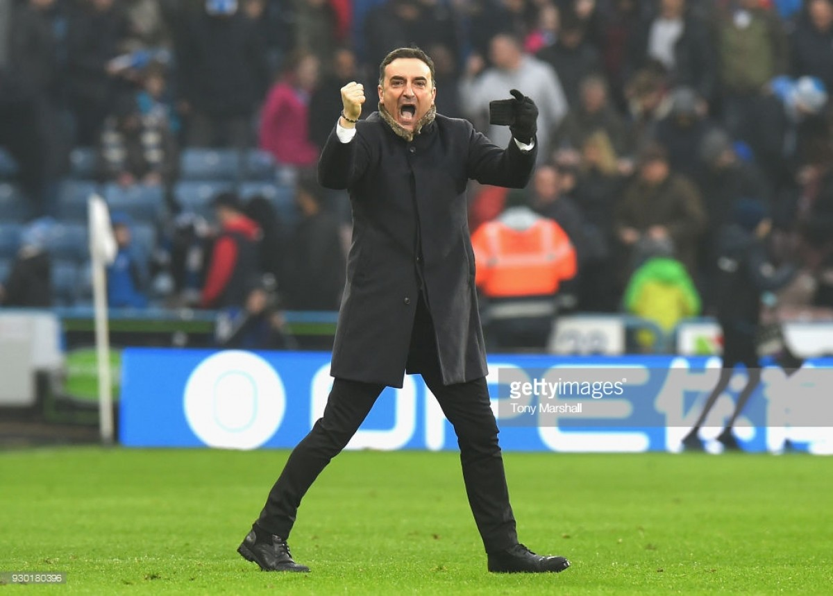 """Carlos Carvalhal left """"very happy"""" following his side's 0-0 draw against Huddersfield Town with 10 men"""