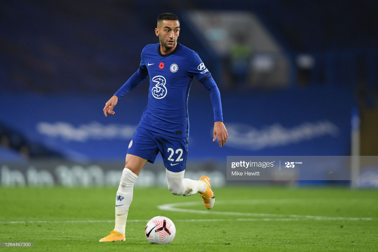 Hakim Ziyech  in action during the Premier League match between Chelsea and Sheffield United at Stamford Bridge on November 07, 2020 in London, United Kingdom [Getty Images, Mike Hewitt]