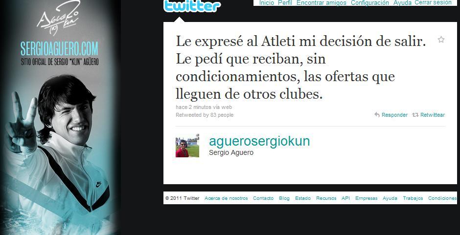"""Agüero dice adiós: """"Le he expresado al Atlético de Madrid mi decisión de salir"""""""