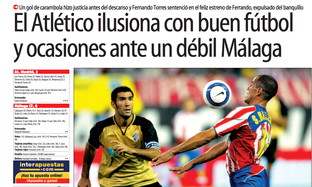 Atlético de Madrid-Málaga: dos derrotas colchoneras en nueve partidos