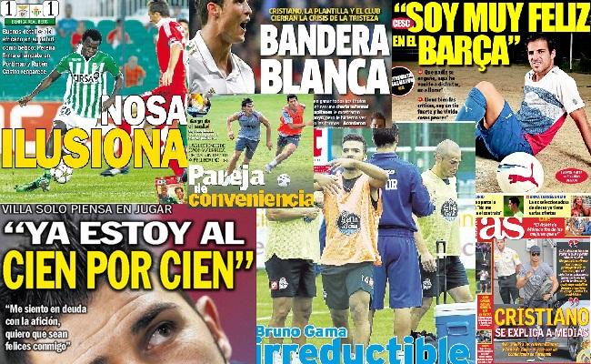 Las portadas del 13 de septiembre de 2012