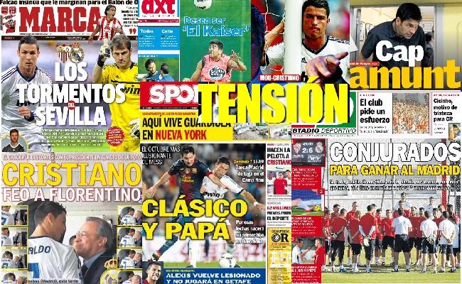 Las portadas del 14 de septiembre de 2012
