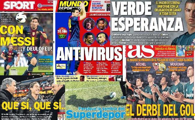 Las portadas del 15 de septiembre de 2012