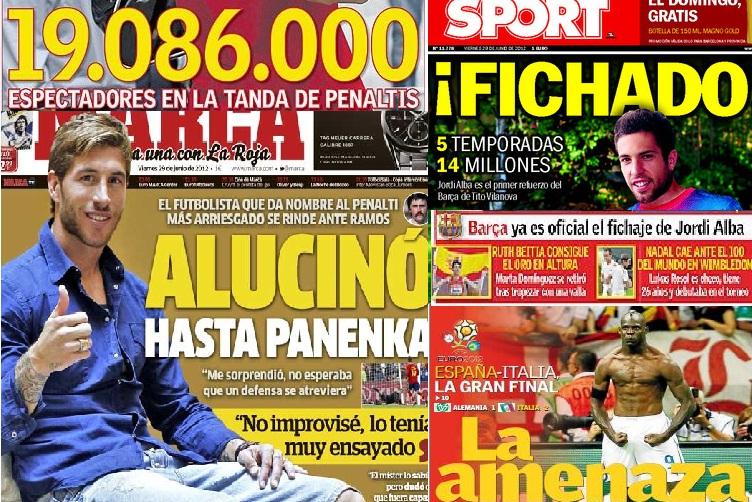 Las portadas del 29 de junio de 2012