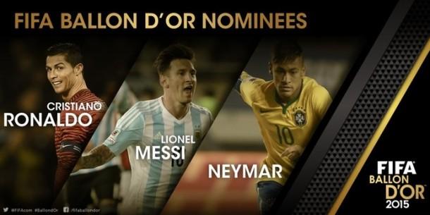 Fifa divulga finalistas à Bola de Ouro e Neymar disputará prêmio com Messi e Cristiano Ronaldo