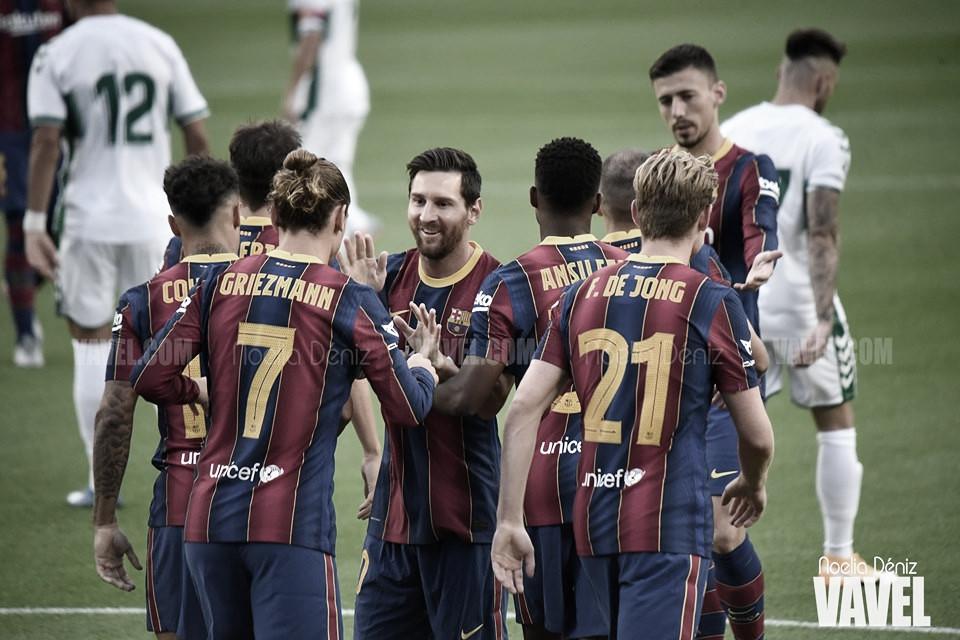 Los jugadores del Fútbol Club Barcelona celebrando un gol en la última edición del Trofeo Joan Gamper | Elena Martín, VAVEL