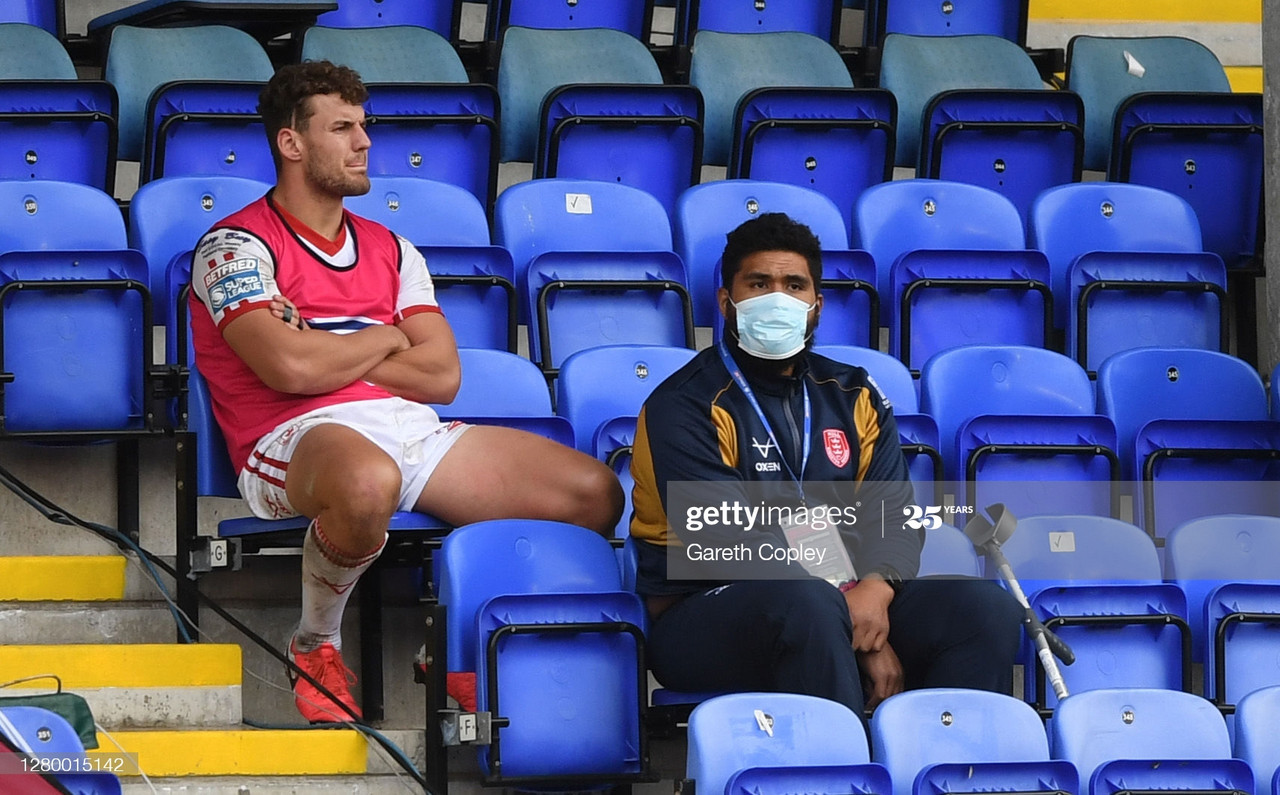 <div>Above: One piece of good news today was Mose Masoe back in the stands watching his Hull KR side after his horror injury in pre-season that left him unable to walk</div>(Photo by Gareth Copley/Getty Images)