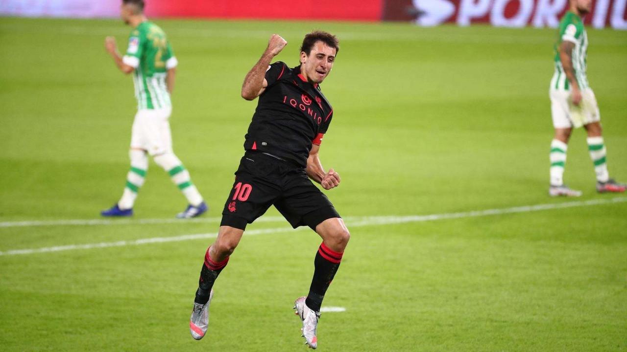 Mikel Oyarzabal celebrando el gol txuri urdin / Foto: Real Sociedad