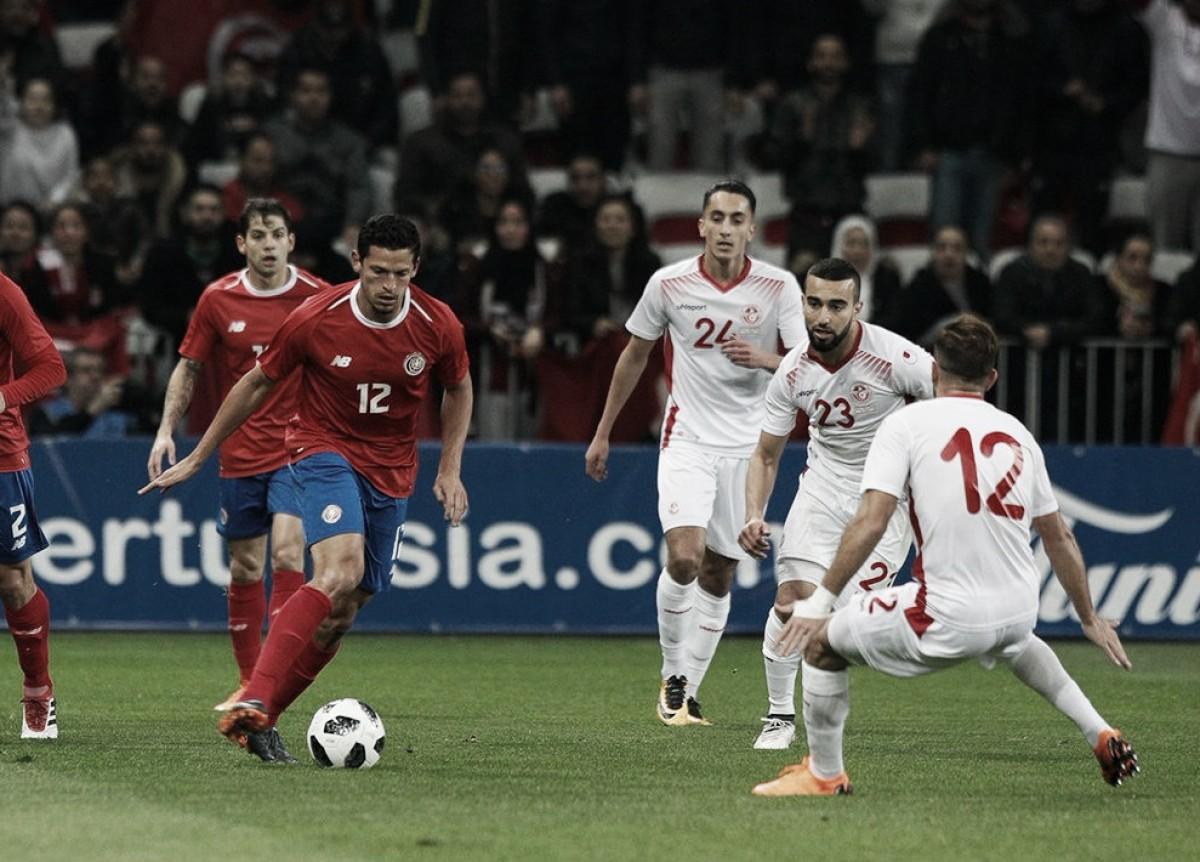 De olho na Copa, Tunísia domina Costa Rica e vence amistoso internacional