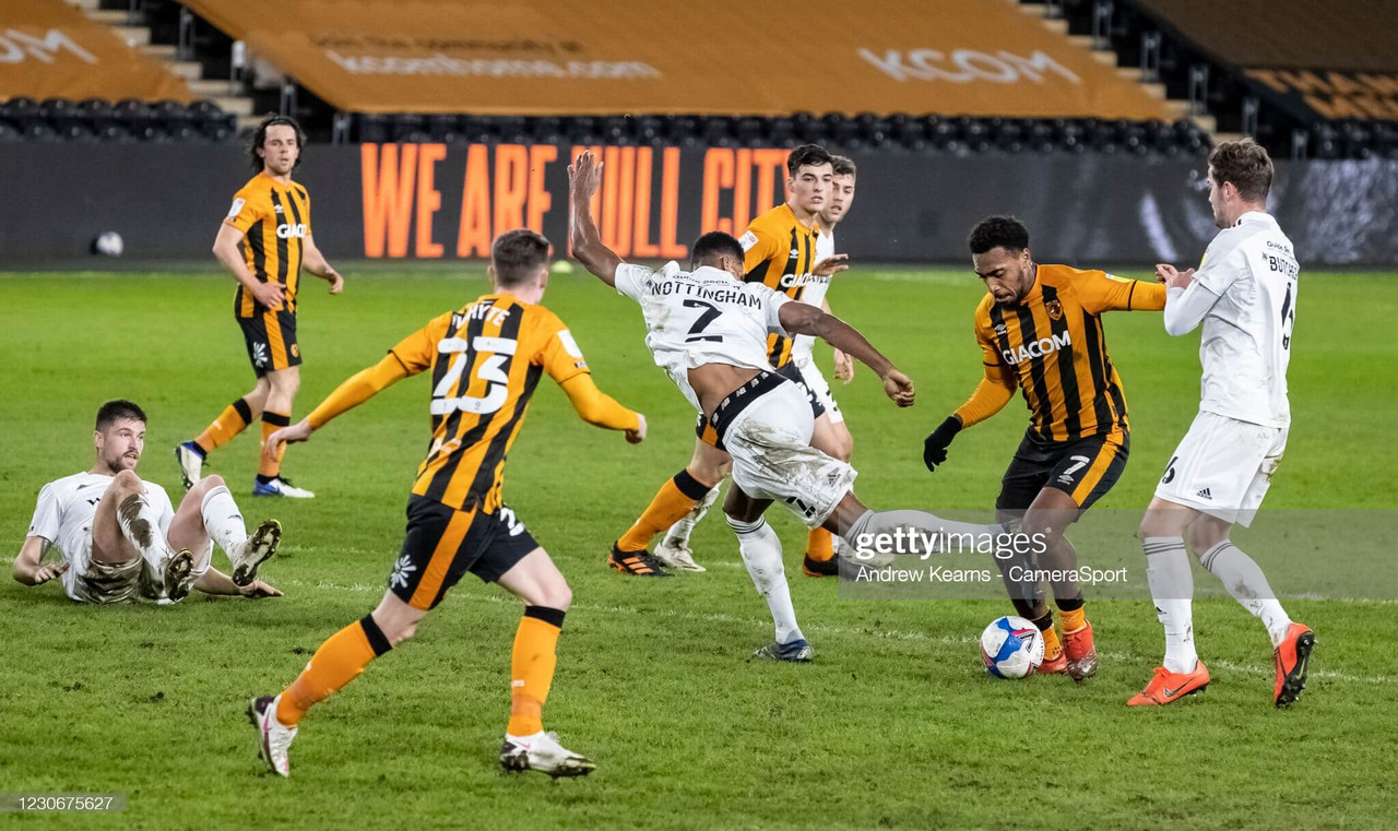 HULL, ENGLAND - JANUARY 19: Hull City's Mallik Wilks (2nd right) breaks during the Sky Bet League One match between Hull City and Accrington Stanley at KCOM Stadium on January 19, 2021 in Hull, England. (Photo by Andrew Kearns - CameraSport via Getty Images)