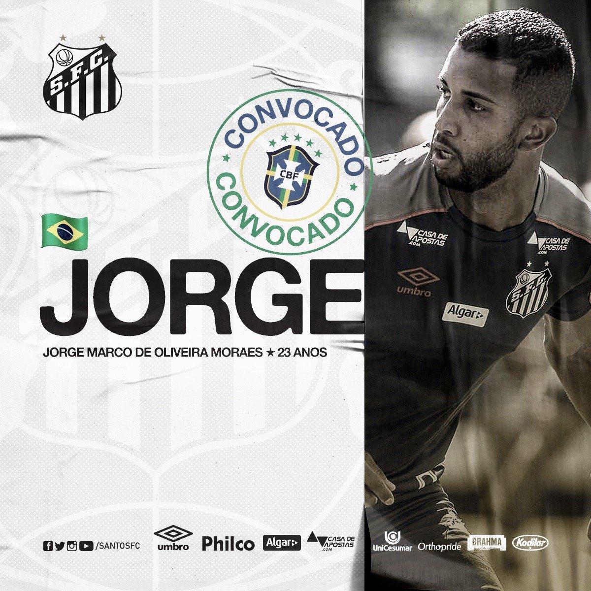 Em boa fase no Santos, Jorge é convocado para amistosos da Seleção Brasileira