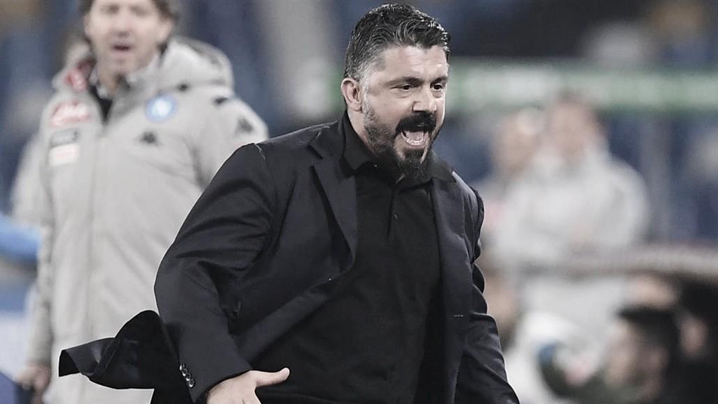 """Alvoroçado com título do Napoli, Gattuso diz: """"Existe um Deus do futebol que recompensa quando você trabalha bem"""""""