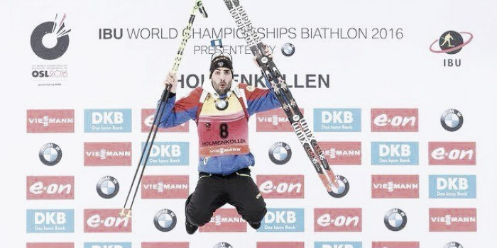 Martin Fourcade claims golden treble on opening weekend of Biathlon World Championships