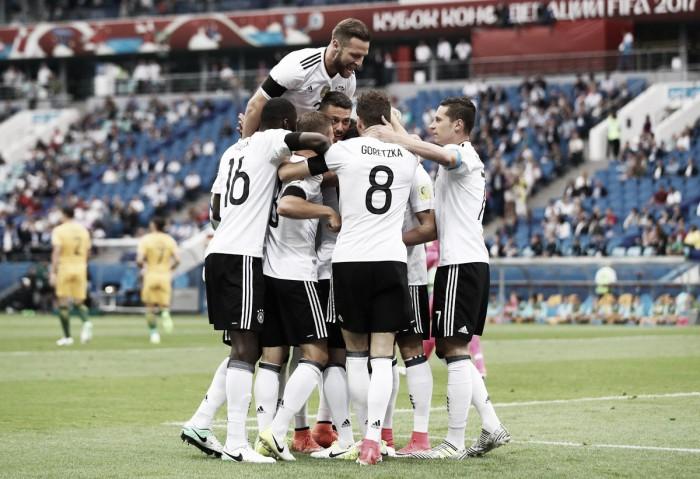 Favorita ao título, Alemanha estreia com vitória sobre Austrália em jogo de cinco gols