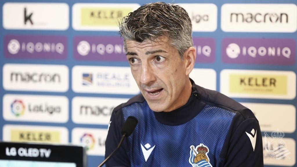 Imanol Alguacil en la rueda de prensa previa al duelo de Copa frente al Betis // Foto: Real Sociedad