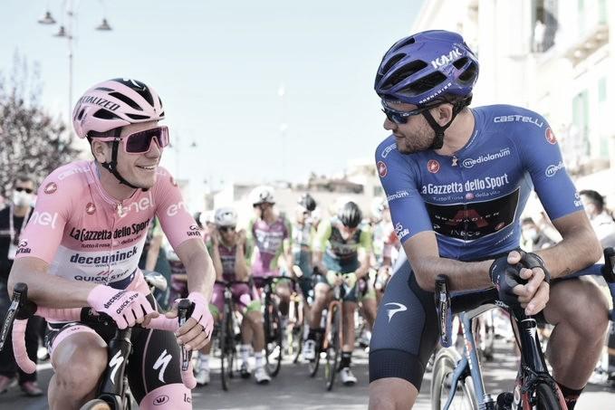 Imagen de Joao Almeida y Filippo Ganna juntos. Foto de la cuenta oficial del Giro de Italia. @girodeitalia