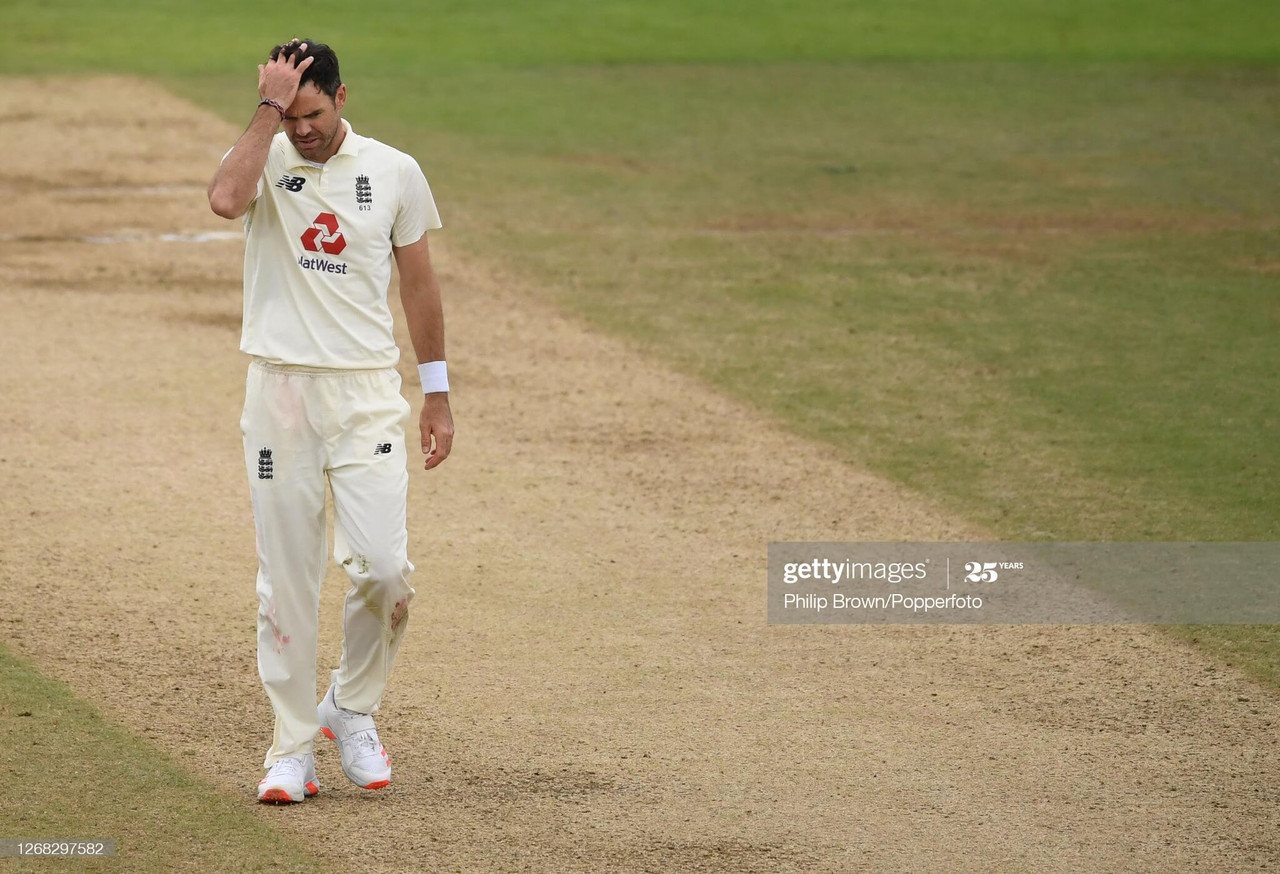 James Anderson was left on 599 wickets at stumps on a largely fruitless day for the England attack