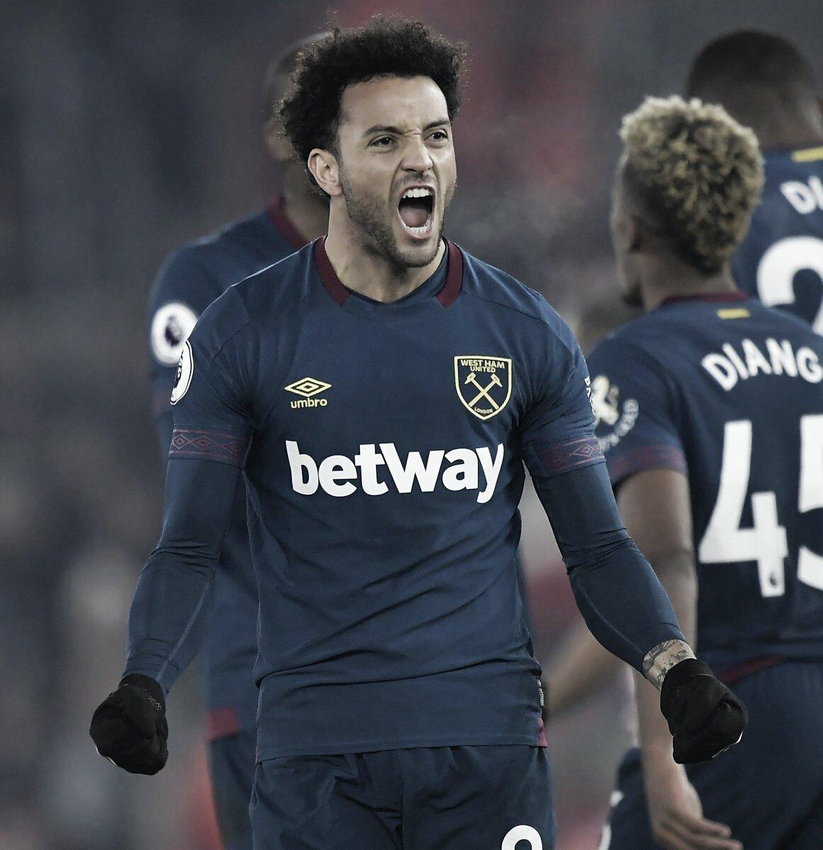Felipe Anderson marca duas vezes e garante virada do West Ham sobre o Southampton