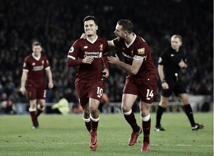 Com show de Coutinho, Liverpool goleia Brighton e entra na zona de UCL