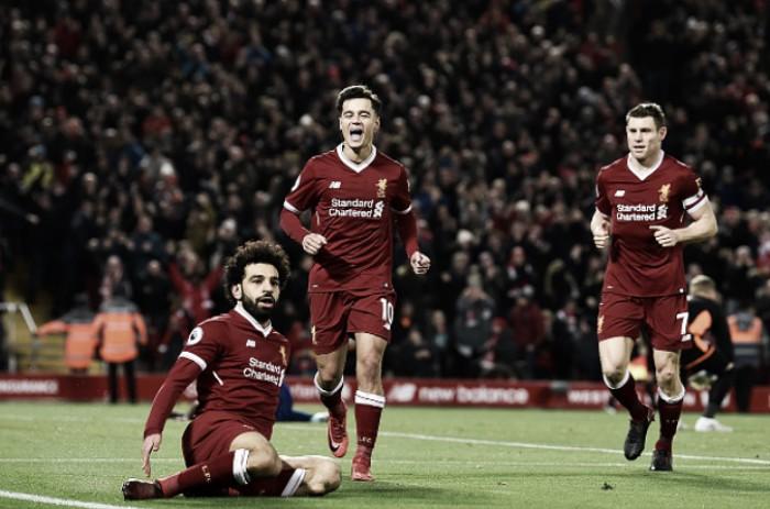 Salah brilha e comanda virada do Liverpool sobre Leicester