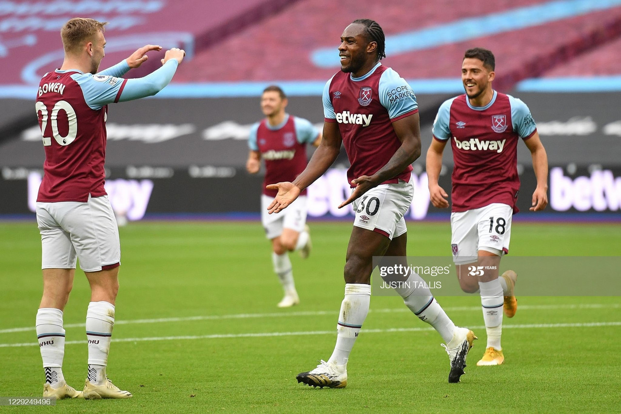 <div>West Ham United's English midfielder Michail Antonio (C) celebrates scoring the opening goal during the English Premier League football match between West Ham United and Manchester City at The London Stadium, in east London on October 24, 2020. (Photo by JUSTIN TALLIS / POOL / AFP) / RESTRICTED TO EDITORIAL USE. No use with unauthorized audio, video, data, fixture lists, club/league logos or 'live' services. Online in-match use limited to 120 images. An additional 40 images may be used in extra time. No video emulation. Social media in-match use limited to 120 images. An additional 40 images may be used in extra time. No use in betting publications, games or single club/league/player publications. / (Photo by JUSTIN TALLIS/POOL/AFP via Getty Images)</div><div><br></div>