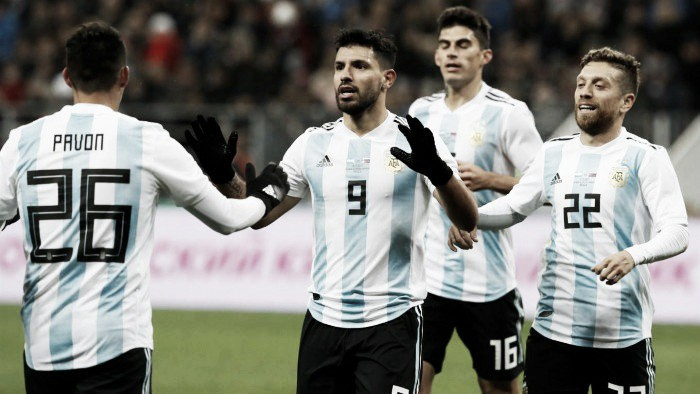 El podio de la Argentina 1-0 Rusia