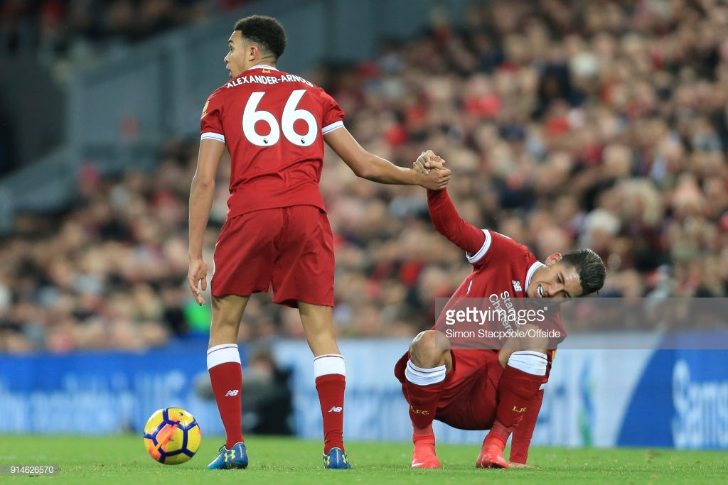 Liverpool forward Roberto Firmino hailed a 'very special player' by teammate Trent Alexander-Arnold