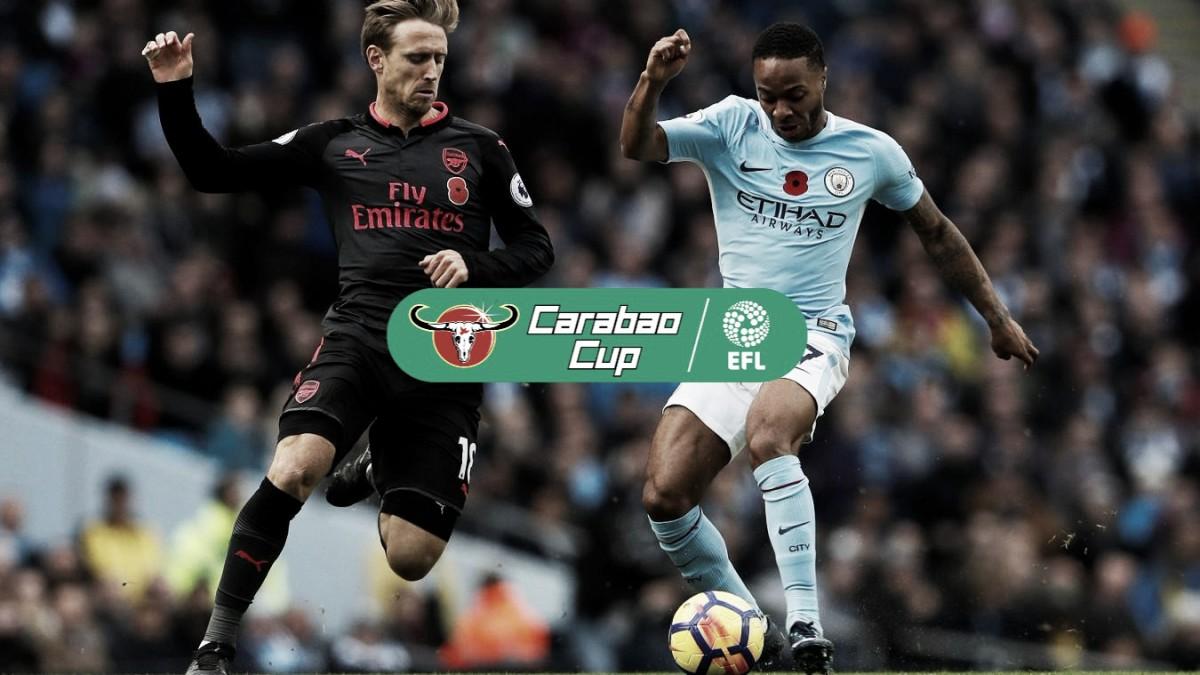 Arsenal vs Manchester City en vivo y en directo online en Carabao Cup 2018 (0-2)