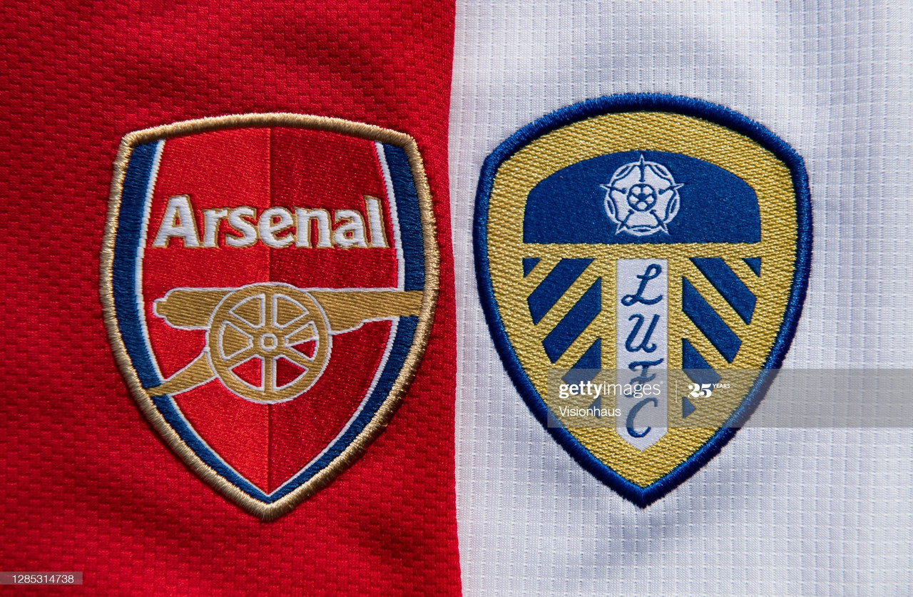 MANCHESTER, ENGLAND - OCTOBER 14: The Arsenal and Leeds United Club Badges displayed on their home shirts on October 14, 2020 in Manchester, United Kingdom. (Photo by Visionhaus)