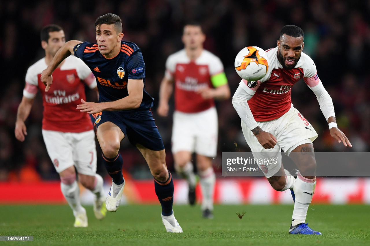 Arsenal 3-1 Valencia: Lacazette and Aubameyang put Gunners in control of semi-final tie