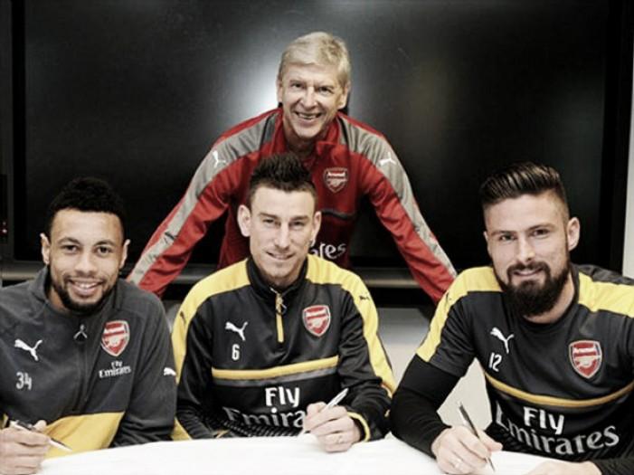 Arsenal anuncia renovações de Coquelin, Giroud e Koscielny