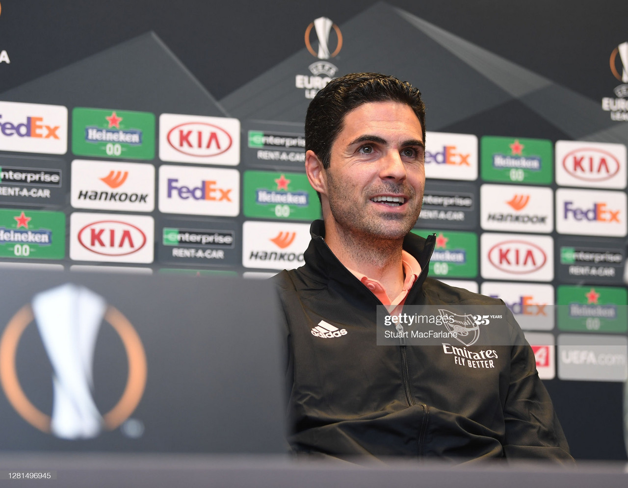 VIENNA, AUSTRIA - OCTOBER 21: Arsenal manager Mikel Arteta attends a press conference at the team hotel on October 21, 2020 in Vienna, Austria. (Photo by Stuart MacFarlane/Arsenal FC via Getty Images)