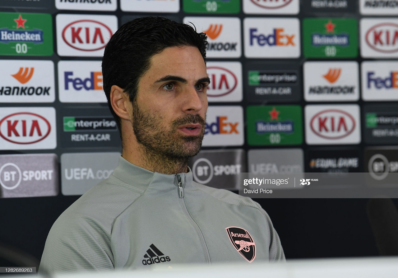 ST ALBANS, ENGLAND - OCTOBER 28: Mikel Arteta the Arsenal Manager during the Europa League Press Conference ahead of the UEFA Europa League Group B stage match between Arsenal FC and Dundalk FC at London Colney on October 28, 2020 in St Albans, England. (Photo by David Price/Arsenal FC via Getty Images)