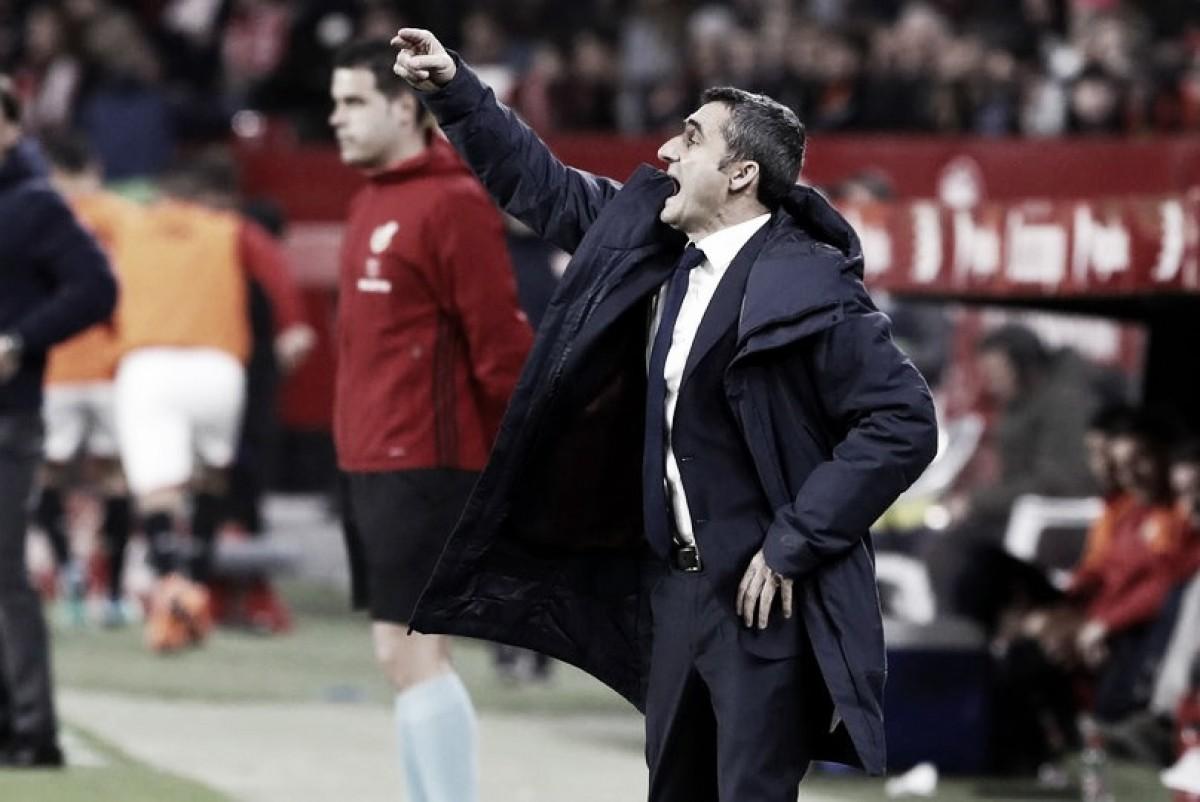 """Valverde elogia atitude do Barça contra Sevilla e exalta Messi: """"É decisivo sempre que toca na bola"""""""