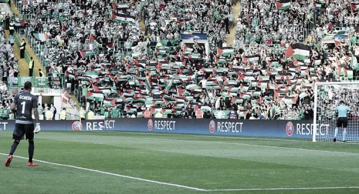 Celtic é multado pela Uefa por erguer bandeiras palestinas em jogo da Champions League