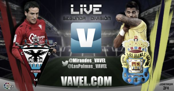 Resultado Mirandés vs Las Palmas en la jornada 34 de la Liga Adelante (2-1)