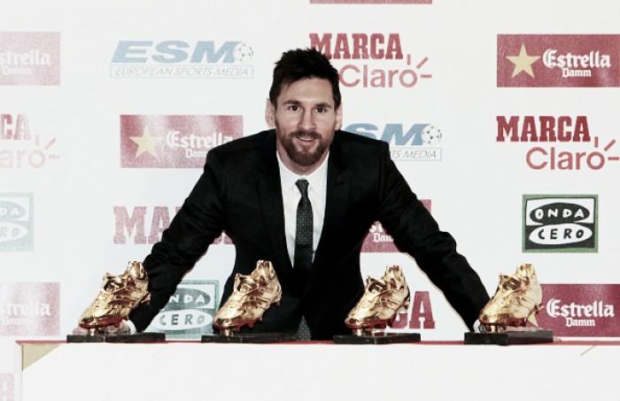 Lionel Messi conquista sua quarta 'Chuteira de Ouro' de maior artilheiro da temporada