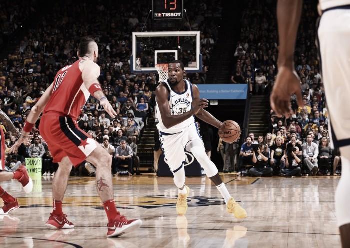 Kevin Durant dá show e comanda vitória dos Warriors sobre os Wizards