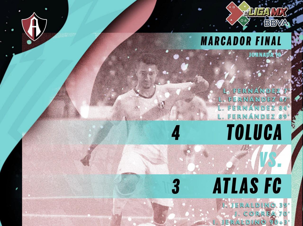 Atlas sigue en mala racha y pierde contra Toluca en la eLiga MX
