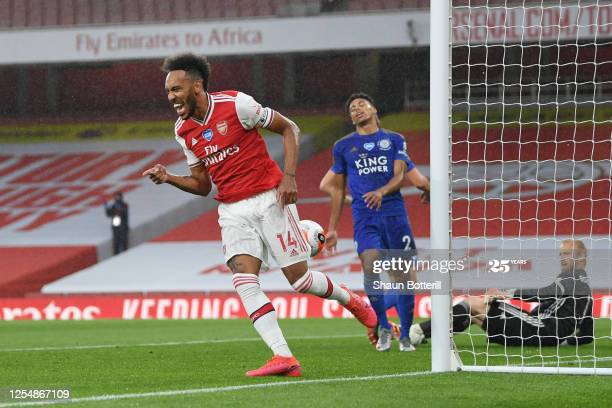 Arsenal captain Pierre-Emerick Aubameyang celebrates giving Arsenal the lead when the two sides met post-lockdown towards the backend of last season.