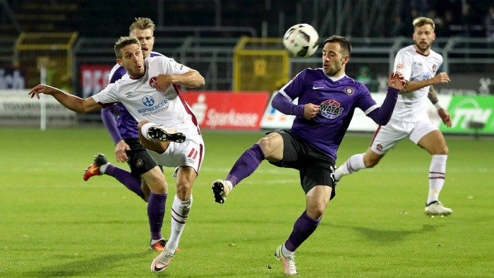 FC Erzgebirge Aue 1-2 FC Nürnberg: Burgstaller strikes late on to heap the pressure upon Pavel Dotchev