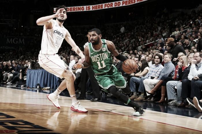 Sob comando de Kyrie Irving, Celtics superam Wizards na prorrogação
