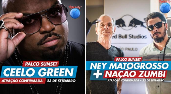 Rock in Rio confirma Cee Lo Green e Ney Matogrosso + Nação Zumbi como atrações no Palco Sunset