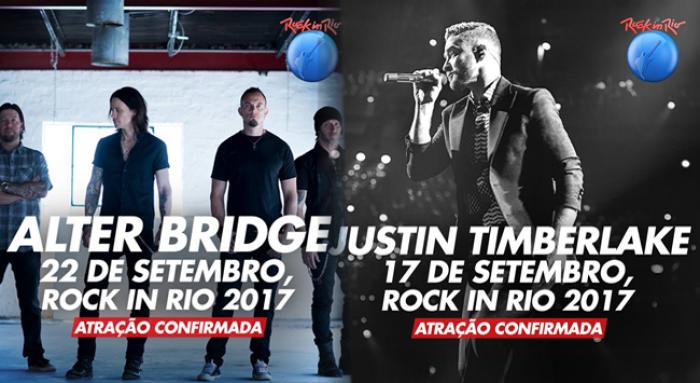 Rock in Rio anuncia Justin Timberlake e Alter Bridge para o Palco Mundo