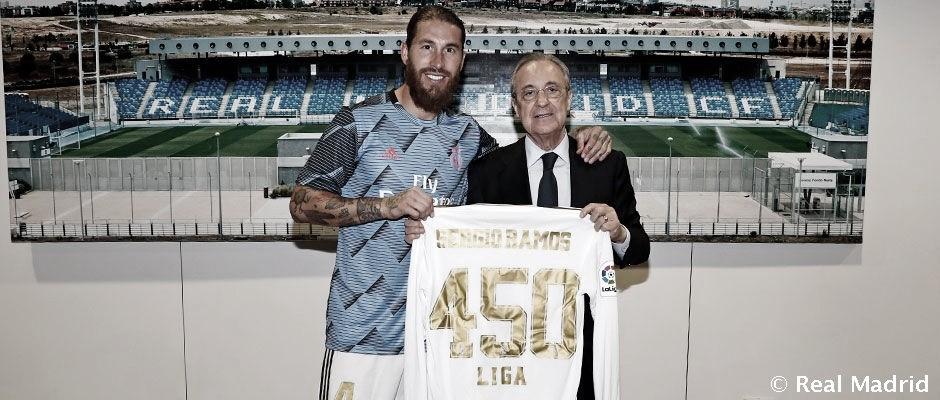 Sergio Ramos alcanza los 450 partidos con la elástica blanca en Liga