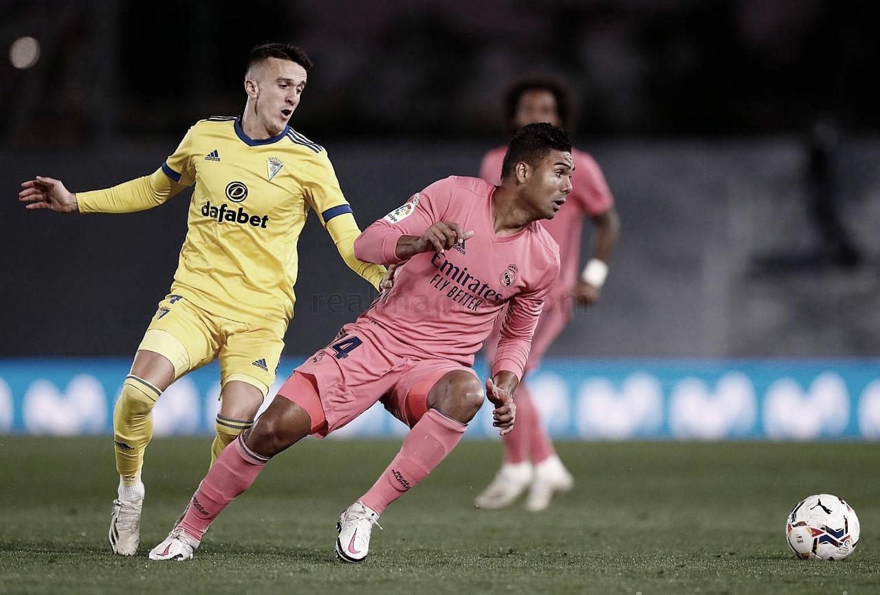 Casemiro ingresó en la segunda mitad y aportó solidez defensiva a un centro del campo inexistente en el primer tiempo | Fuente: www.realmadrid.com